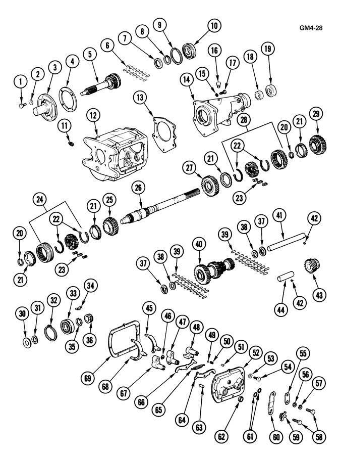 Muncie 3 Speed Transmission Diagram GM A833 Saginaw 4 Manual For Sale: Chevy Turbo 400 Transmission Wiring Diagram At Johnprice.co