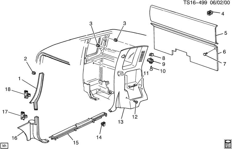 1998 Chevrolet S10 Panel  Body Interior Trim  Trwspeaker