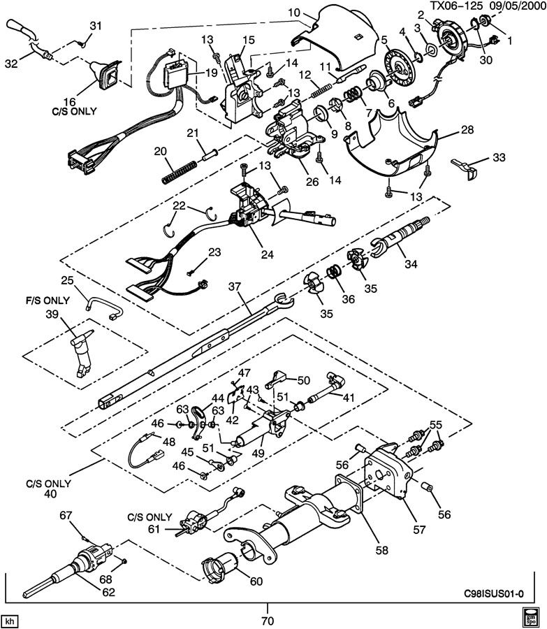 gm steering column parts breakdown