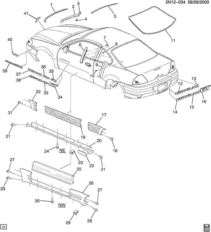 pontiac grand am molding  windshield reveal molding  molding  w  s si rvl - lh