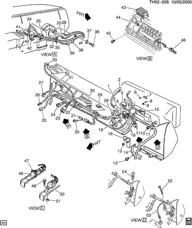 1990 Chevrolet S10 WIRING HARNESS/INSTRUMENT PANEL-RH CAB