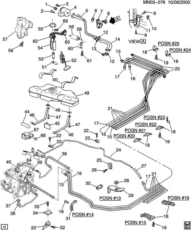 Pontiac Grand Am Retainer  Fuel Line  Hydraulic Brake Pipe
