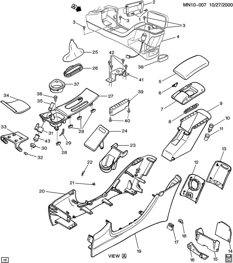 Diagram CONSOLE/FLOOR for your 1997 Buick Skylark