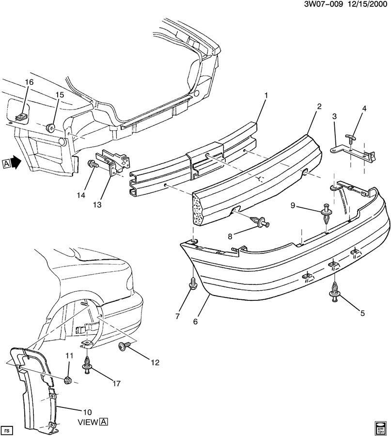 1999 oldsmobile intrigue bumper  rear
