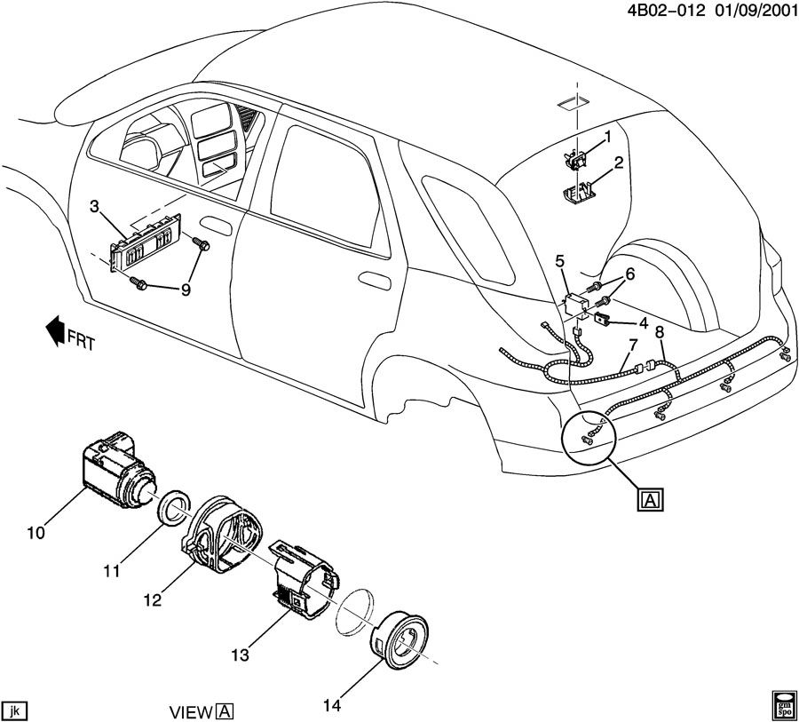 Sensor system rear object for 2002 buick rendezvous window clips