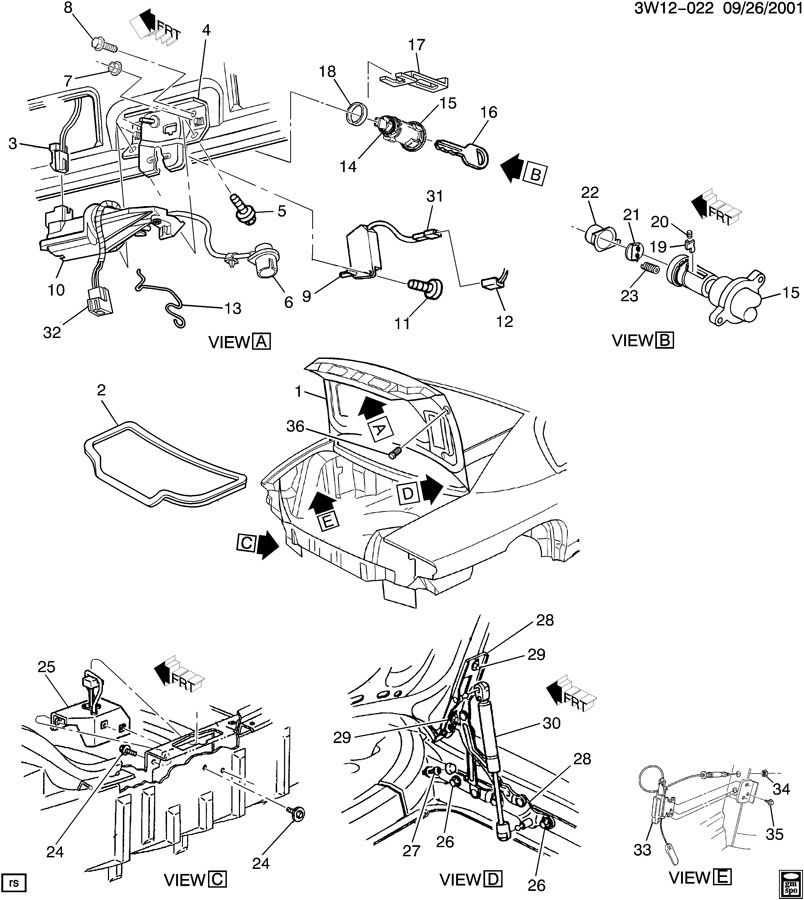 2002 Buick Rendezvous Rear Suspension Parts Diagram Buick