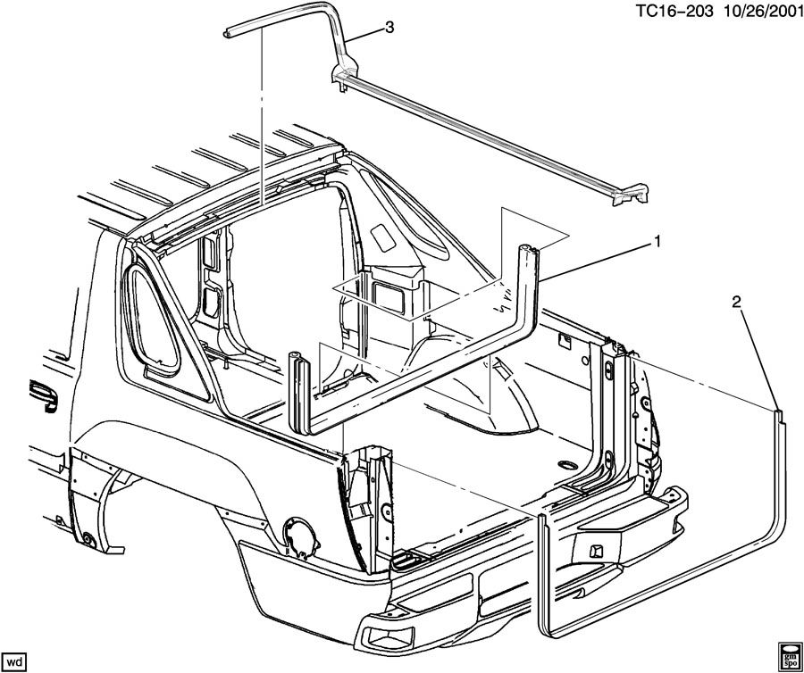 Chevrolet Avalanche Weatherstrip  Body Rear Platform Panel
