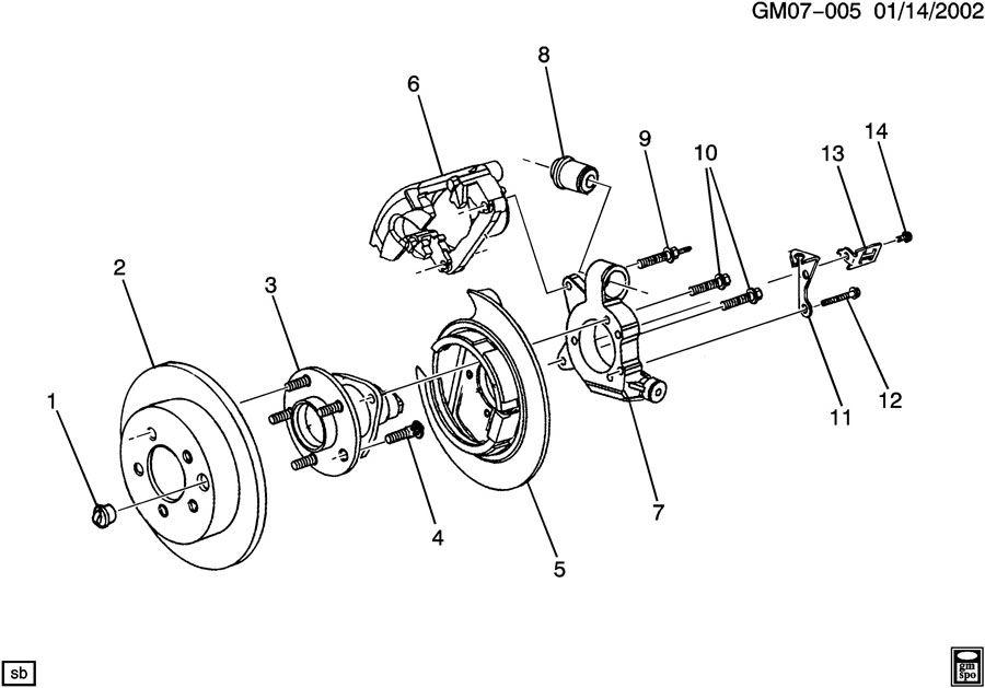 2005 Pontiac Knuckle  Rear Wheel  Knuckle  Rr Susp