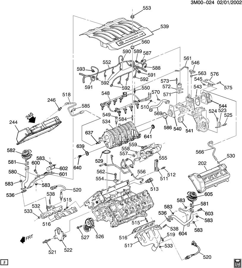 Diagram ENGINE ASM-4.0L V8 PART 5 MANIFOLDS & FUEL RELATED PARTS for your 1999 Cadillac Seville Base 4DR