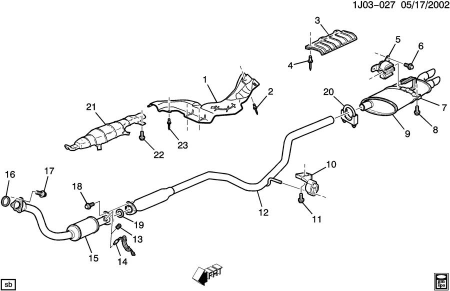 Chevrolet Cavalier Strap  Exhaust Muffler  Resonator