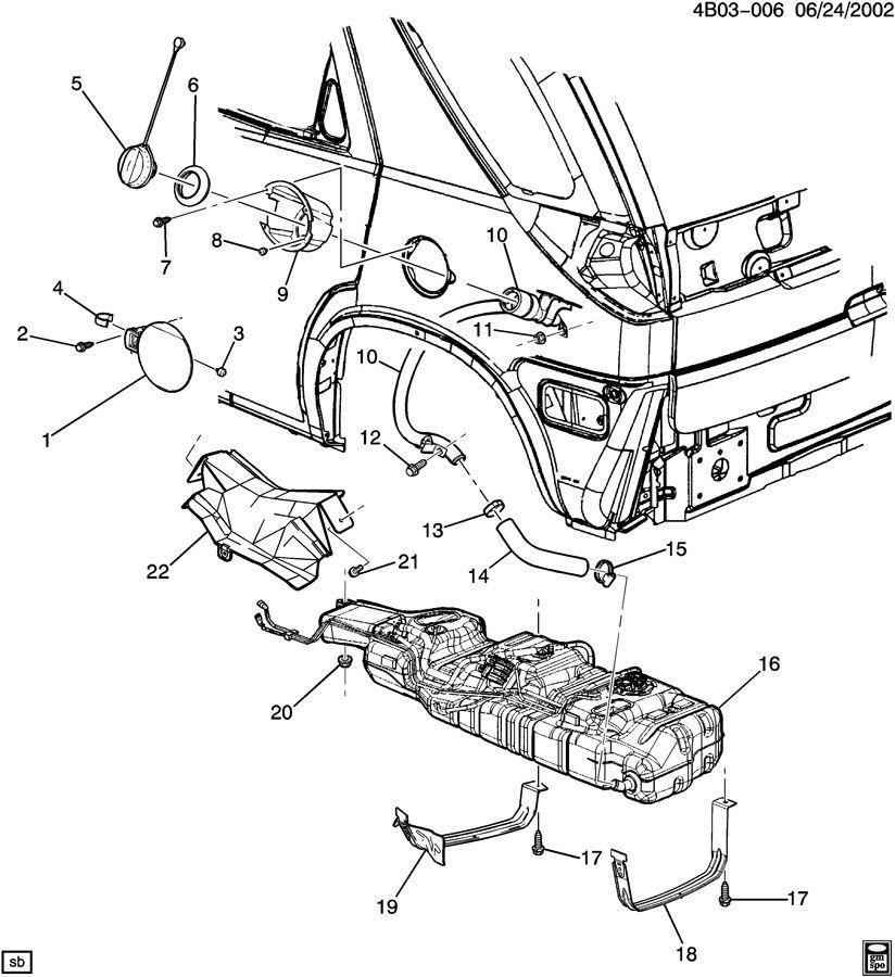 Buick Rendezvous Pipe  Fuel Tank Filler  Pipe  F  Tnk Fil