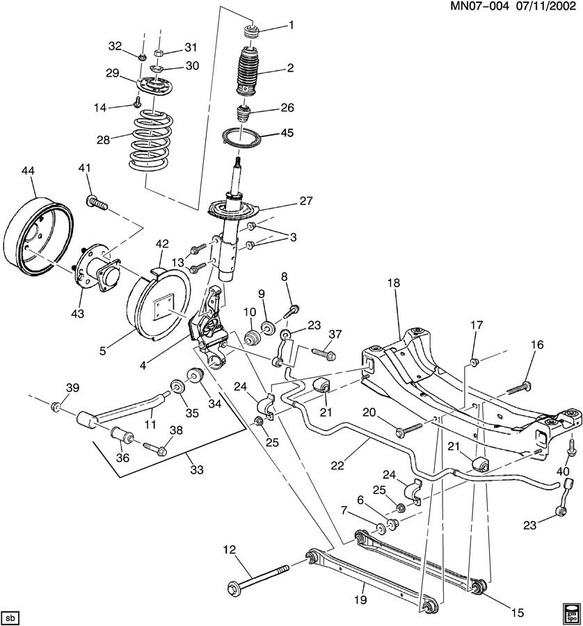 1999 chevy malibu brake diagram: suspension/rear