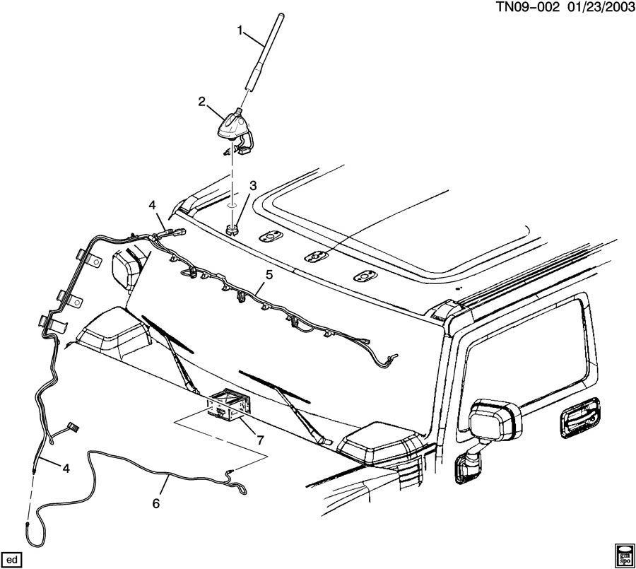 hummer h2 antenna  roof mounted