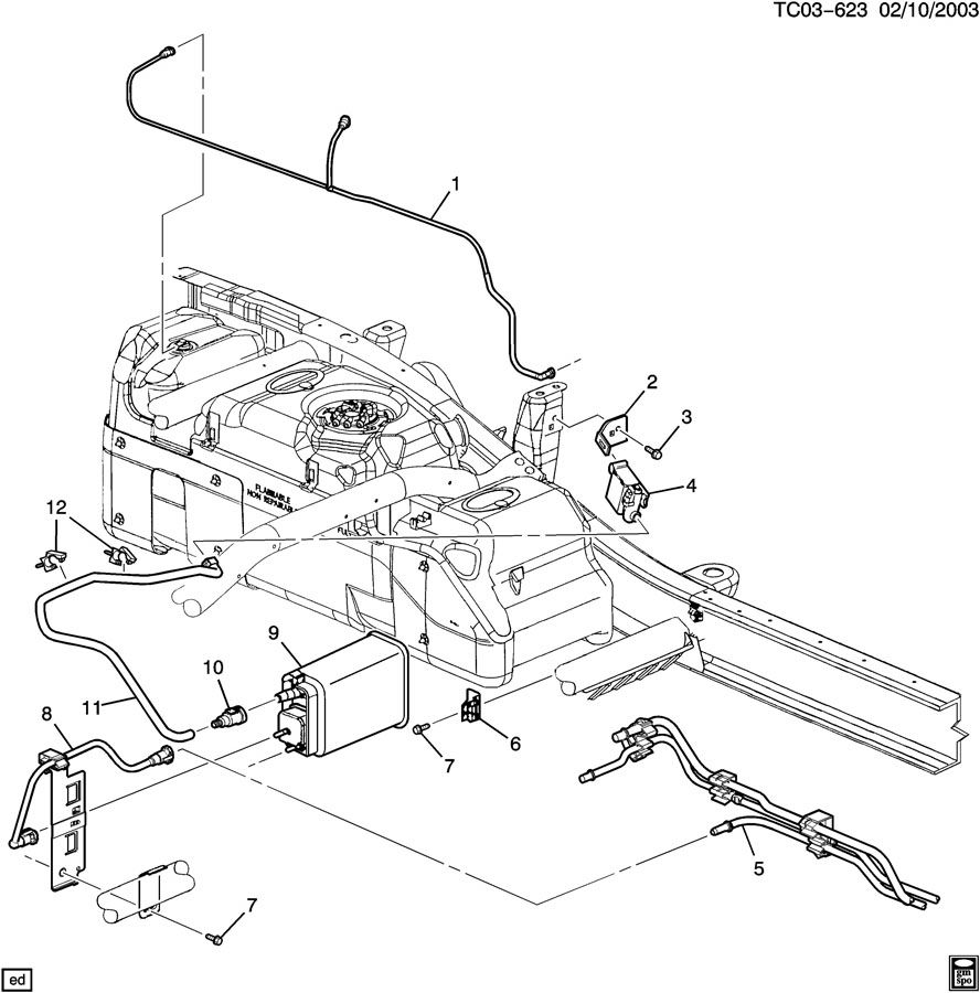 2003 Cadillac ESCALADE CK157,257; VAPOR CANISTER & RELATED ...