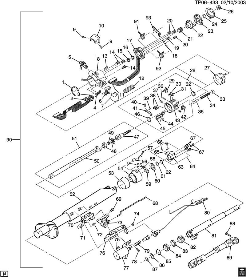 cadillac steering column diagram