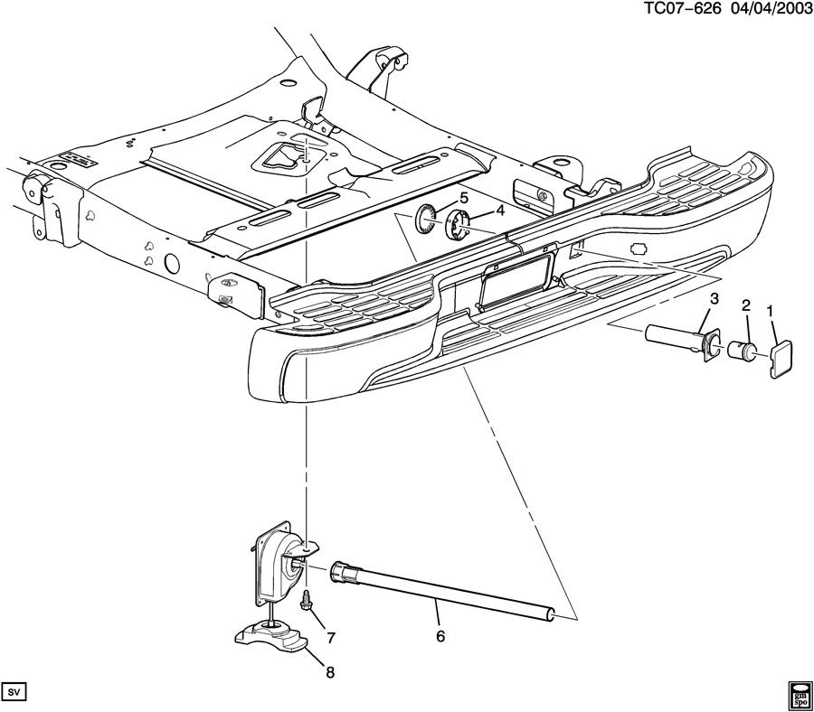 Diagram SPARE WHEEL CARRIER for your 1999 Cadillac Seville Base 4DR