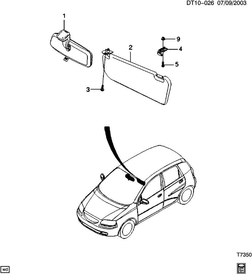 Diagram SUNSHADE ASM & INTERIOR REAR VIEW MIRROR for your 2010 Chevrolet Suburban 2500