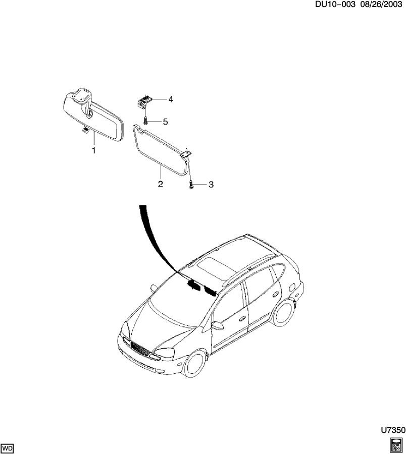 Diagram SUNSHADE ASM & REAR VIEW MIRROR for your 2010 Chevrolet Suburban 2500