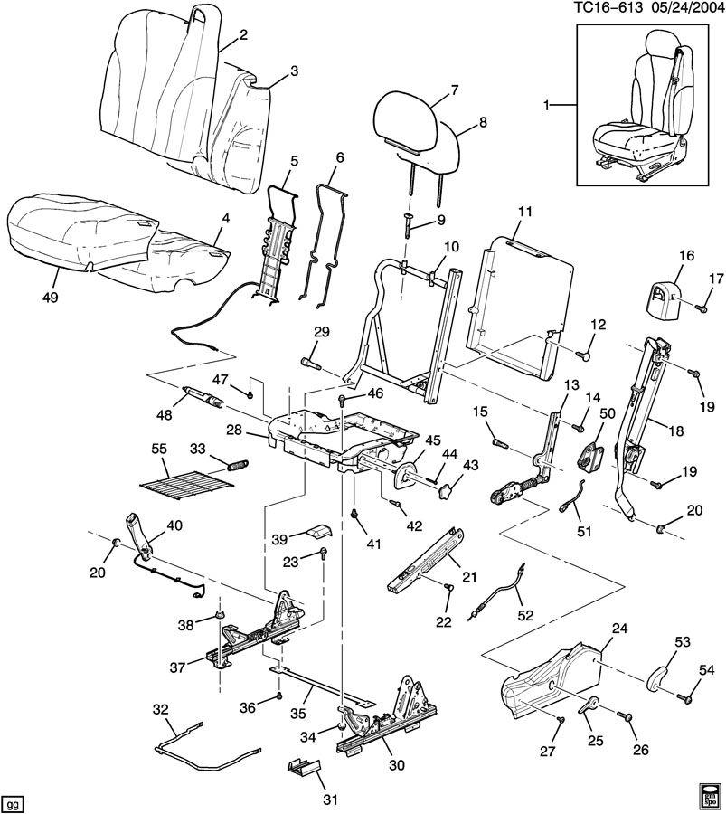 88935202 - Chevrolet Belt kit. A95 - front bucket seat ...