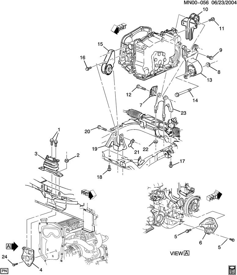 1999 Pontiac Grand Am Transmission: ENGINE & TRANSMISSION MOUNTING-L4