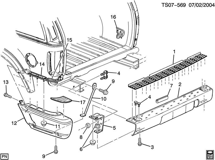15154211  Pad Rear bumper step Pad  rr bpr step Padrr