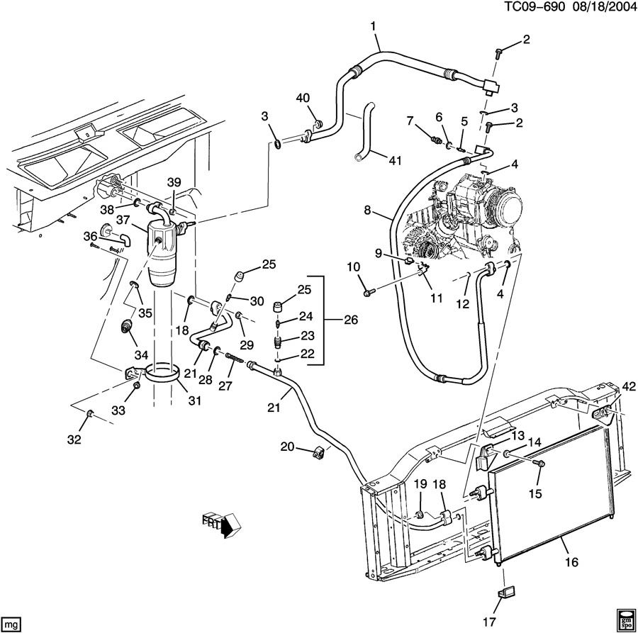 98 chevy 1500 radiator diagram