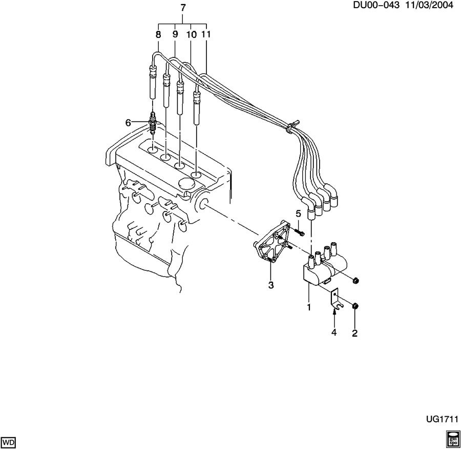 chevrolet aveo coil asm  ignition  u0026 sparkplug wires