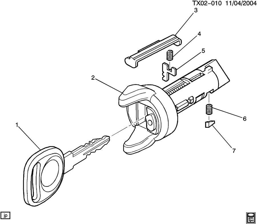 2005 Gmc C6500 Spring  Door Lock Cylinder  Ignition Switch