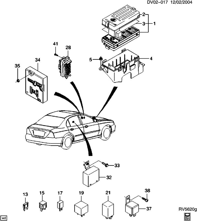 Chevrolet Optra Relay  Horn  Main Wiring Junction And Fuse