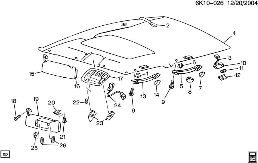 Diagram ROOF HEADLINER for your 1999 Cadillac Seville Base 4DR