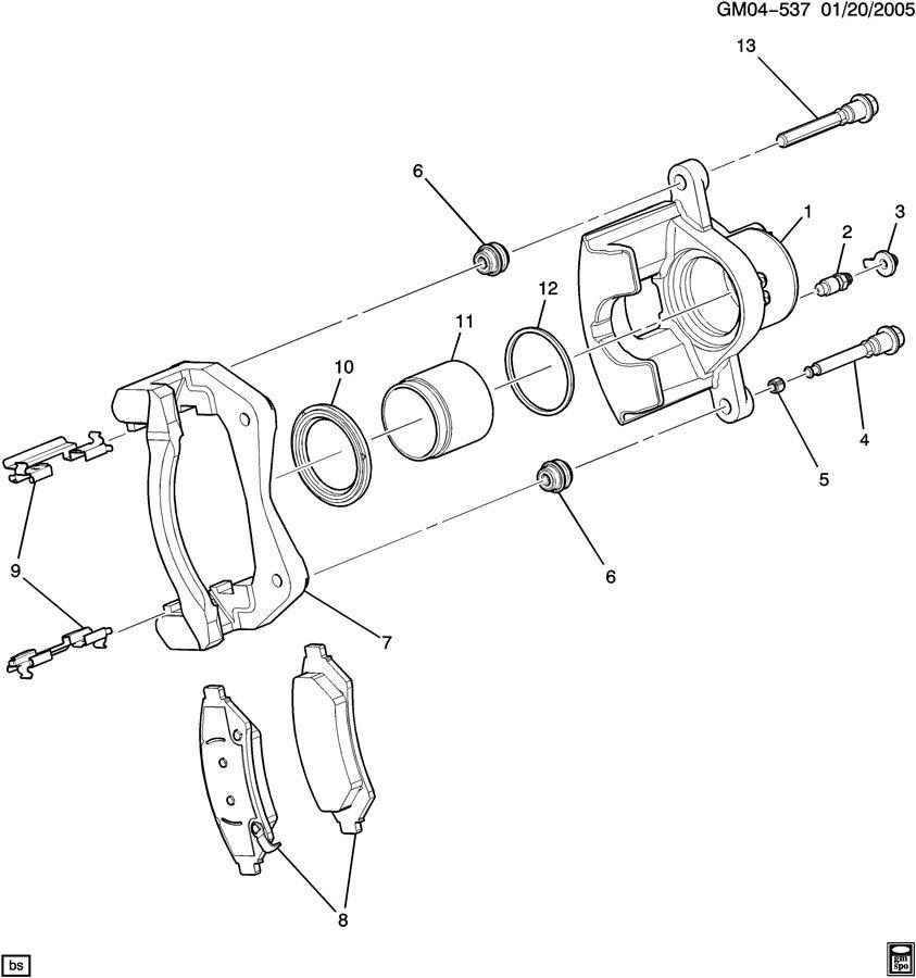oldsmobile rear caliper diagram