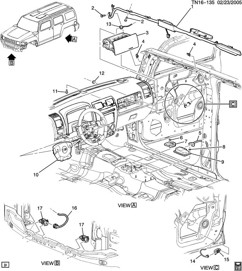 H3 Airbag Module Location 36850 on 2006 Hummer H3 Suspension Diagram