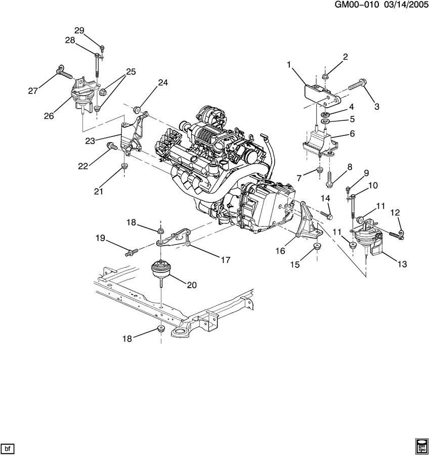 porsche boxster 2002 wiring diagrams additionally 1999 1998 pontiac  bonneville engine diagram: 2004 pontiac bonneville engine & transmission  mounting-v6