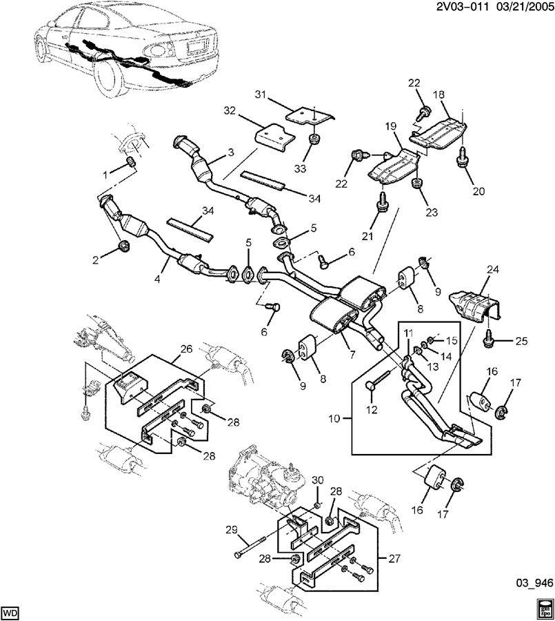 Pontiac Gto Bolt  Catalytic Converter  Rear Axle Control