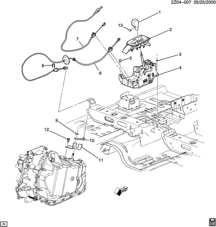 Diagram SHIFT CONTROL/AUTOMATIC TRANSMISSION for your 1999 Cadillac Seville Base 4DR