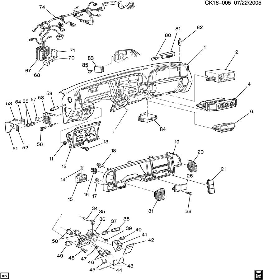 Diagram INSTRUMENT PANEL & RELATED PARTS PART 2 for your Hummer