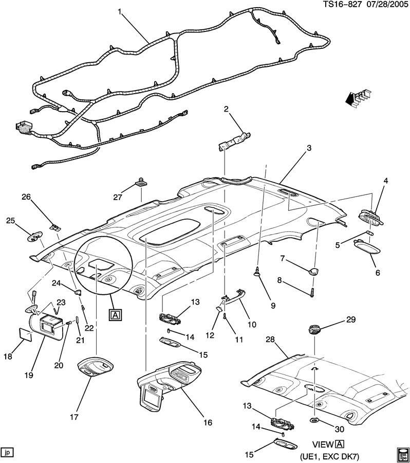 2005 Chevrolet Trailblazer Trim Interior Roof Sunshade