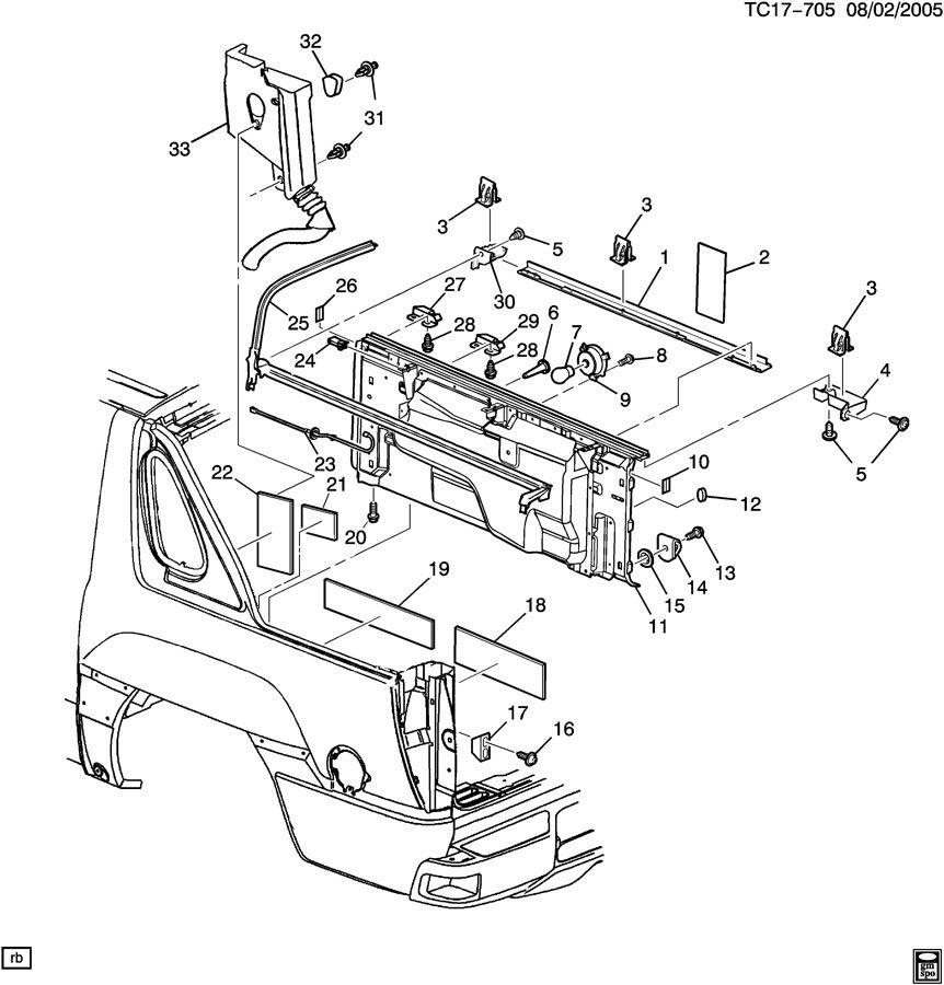 Chevrolet Avalanche Gutter  Body Rear Platform Panel