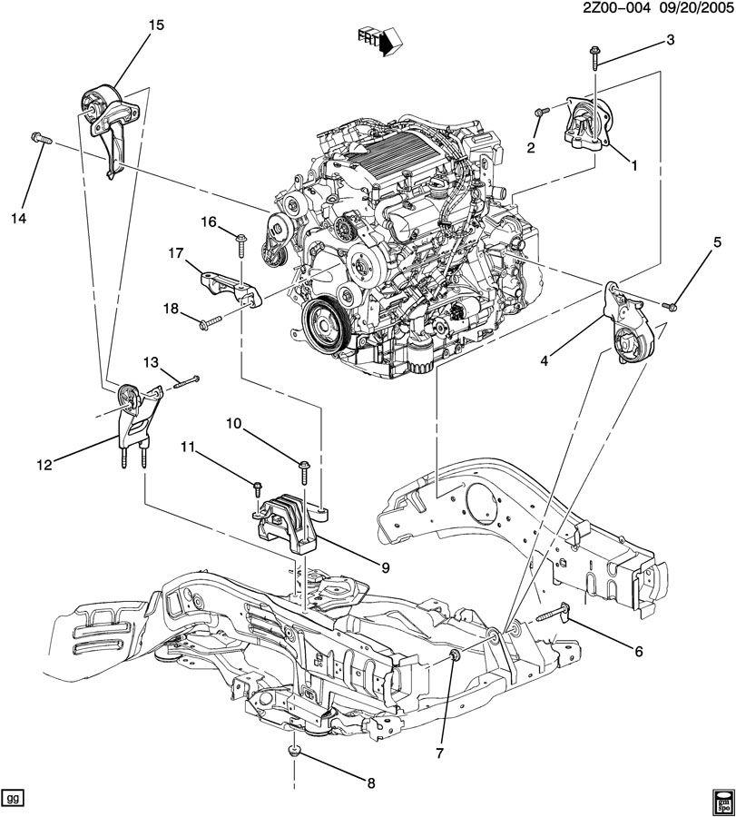 Pontiac G6 Bracket  Engine Mounting  Bracket  Eng Mt