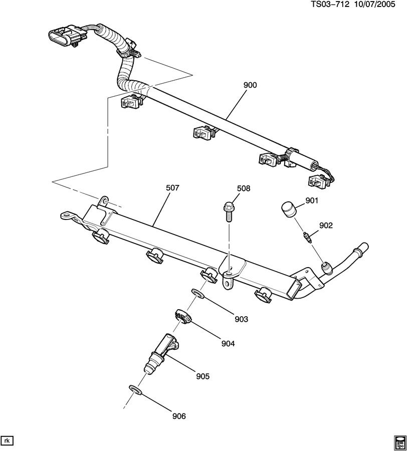 fuel injector rail  lk5  2 8-8    llv  2 9-9