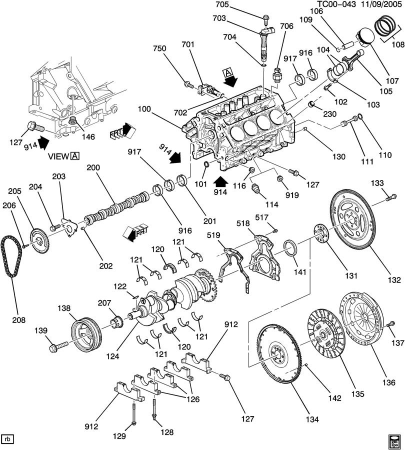 chevrolet silverado 2500 engine asm-v8 part 1 cylinder ... 3 1 liter gm engine oiling diagram gm engine parts diagram