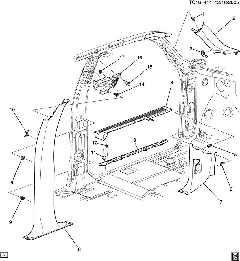 15165772 - Chevrolet Panel  Body Front Hinge Pillar Trim  Panel  Body H  Plr Tr Graphite