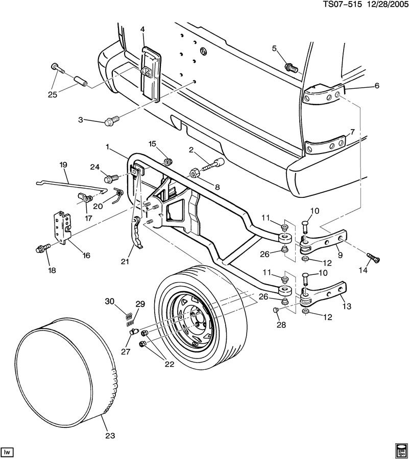 SPARE WHEEL CARRIER/OUTSIDE RR MOUNTED Diagram