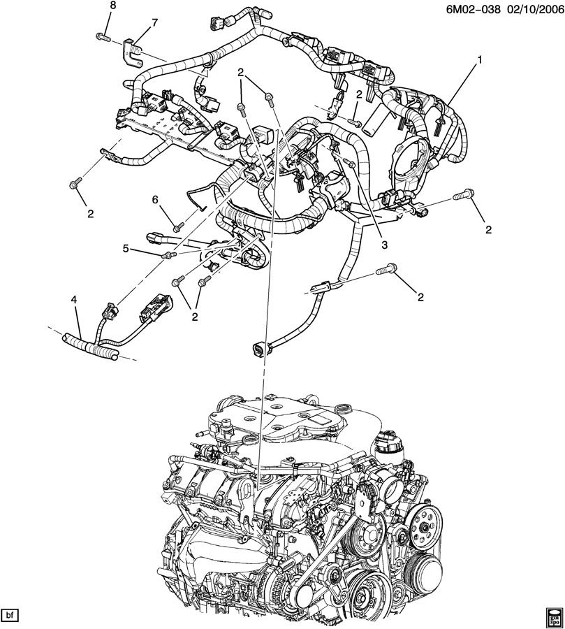 cadillac cts wiring harness  engine asm
