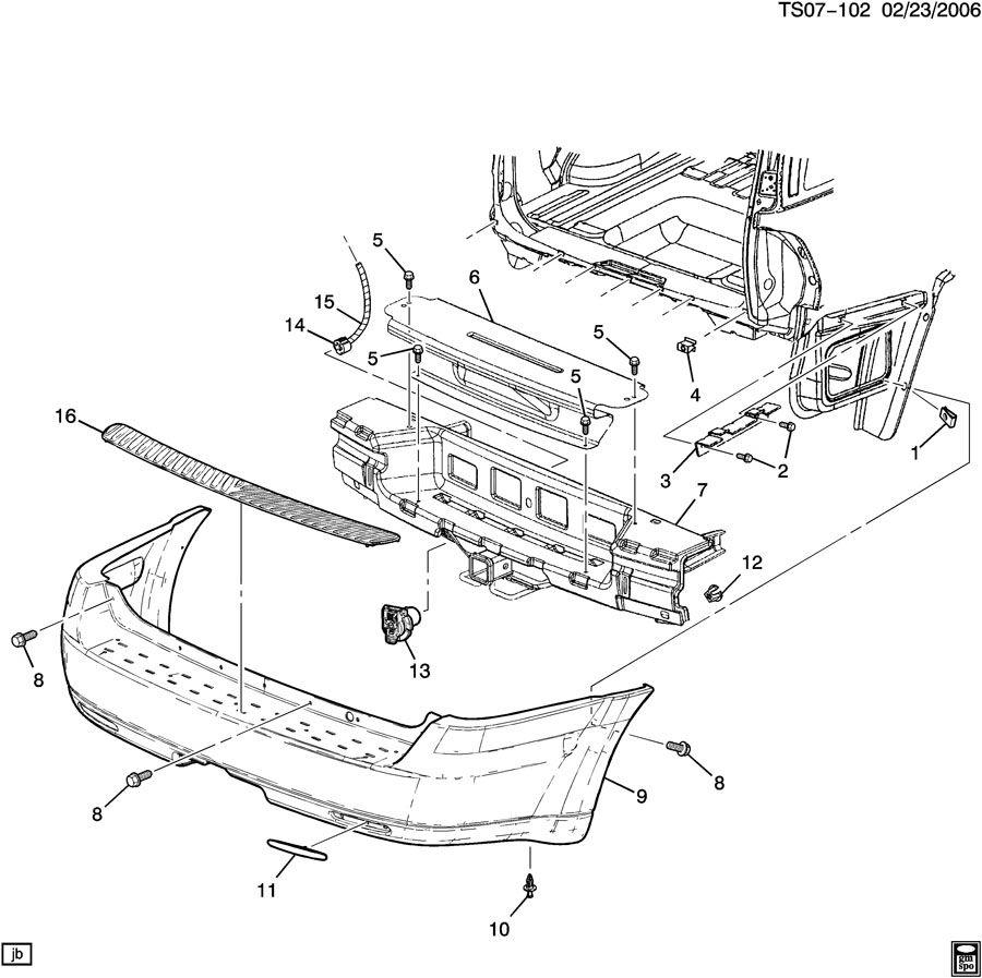 Oldsmobile Bravada Reflector  Tail Lamp  Rear End Panel