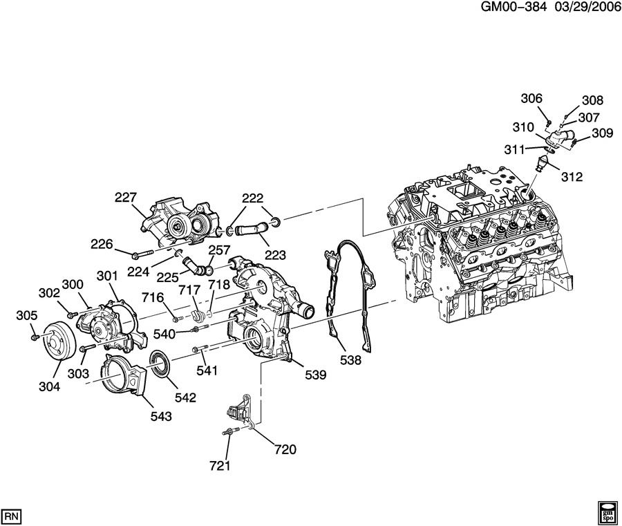 similiar exploded view of 3 8 engine keywords engine asm 3 8l v6 part 3 front cover and cooling l32 3 8 4 eng engine · engine diagram furthermore mercruiser exhaust