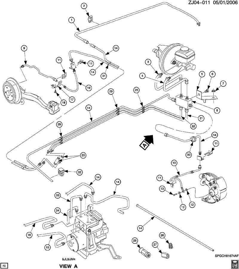 2002 Saturn L100 Pipe  Hydraulic Brake  Pipe  Brk Press