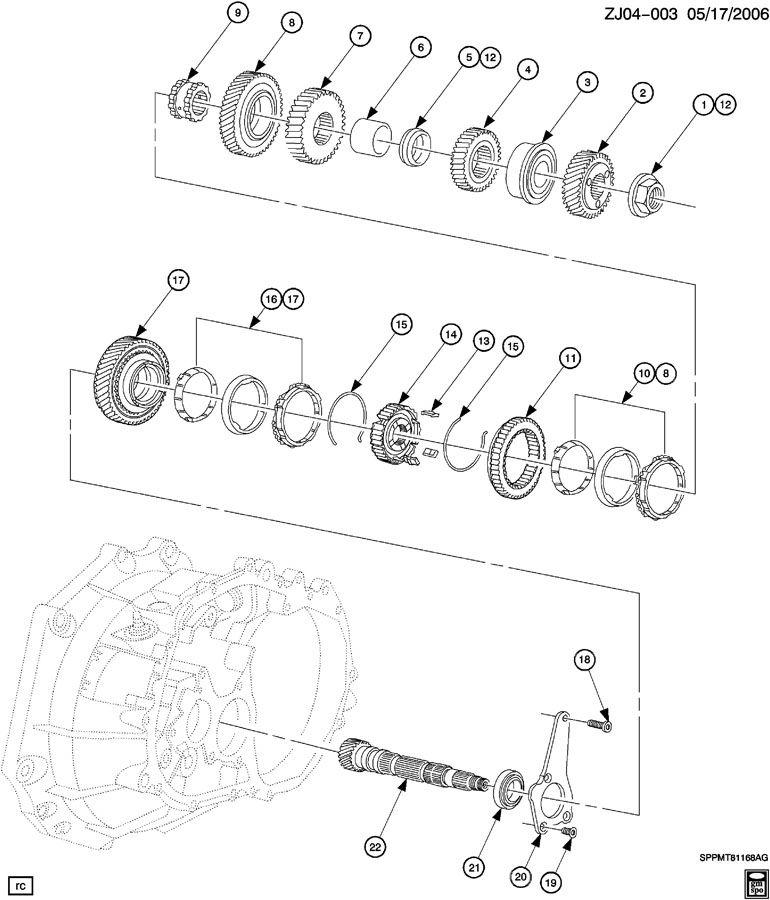 2005 Chevrolet Cobalt Transmission Synchronizer  Synchronizer Kit  Synchronizer  Synchronizer