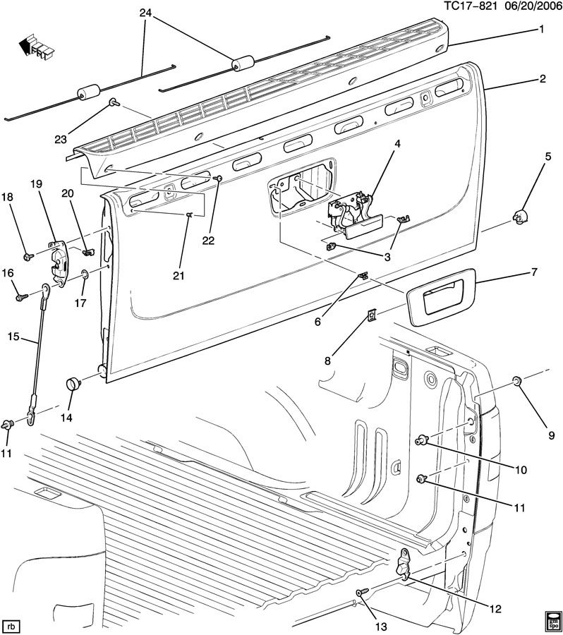 2007 Silverado Tailgate Diagram on 2007 Gmc Sierra Door Parts Diagram