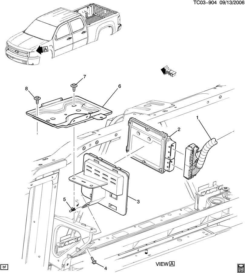 2007 Gmc Sierra E C M  Module  U0026 Wiring Harness